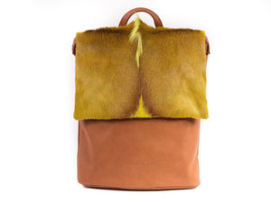 Lime Leather Backpack with a Fan - SHERENE MELINDA