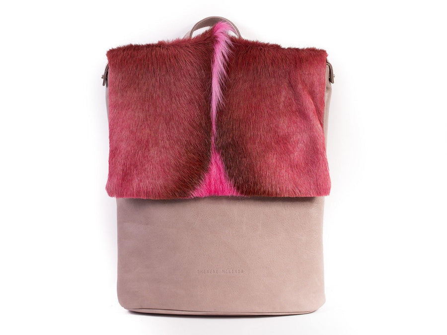 Pink Leather Backpack with a Fan - SHERENE MELINDA