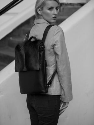 Black Leather Backpack with a Fan - SHERENE MELINDA