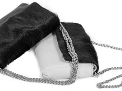 Black Sophy Leather Clutch Bag with a Fan
