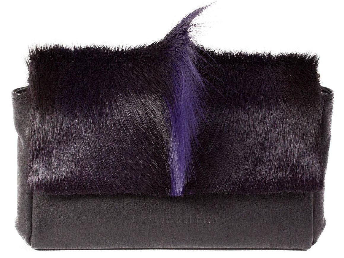 Purple and Black Sophy Leather Clutch Bag with a Fan - SHERENE MELINDA