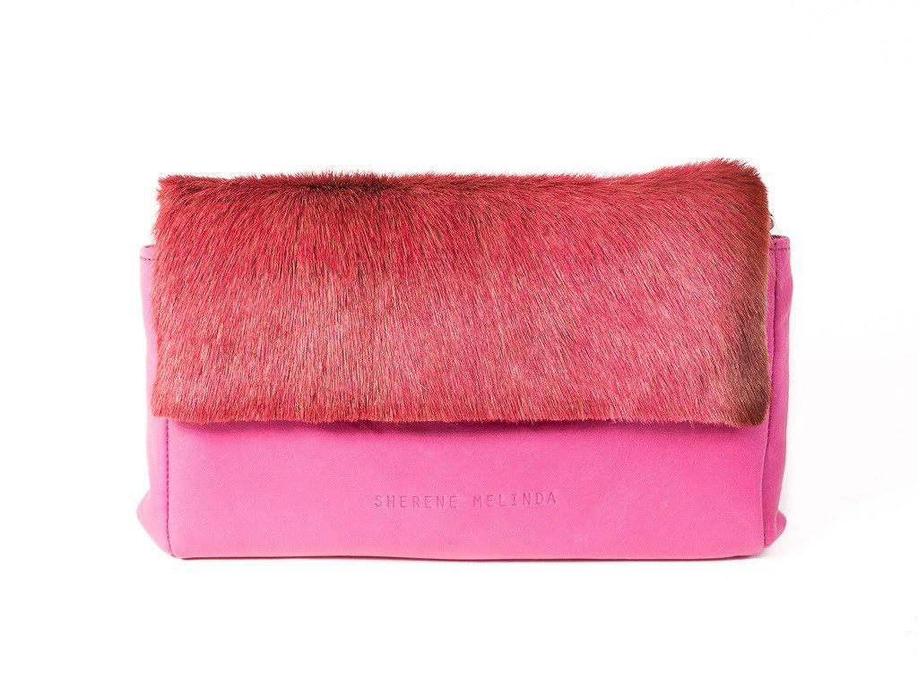 pink leather clutch bag front with no fan