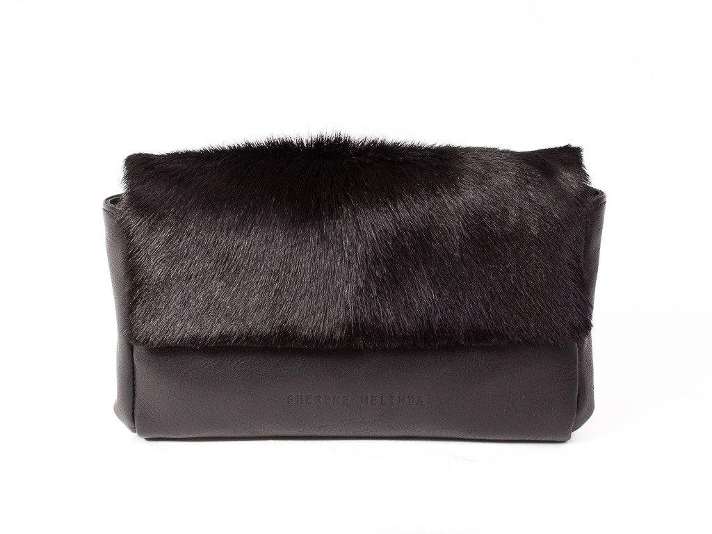 black leather clutch bag front with no fan
