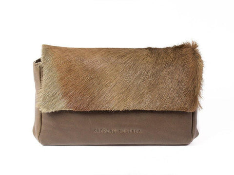 Olive Green Sophy Leather Clutch Bag without a Fan