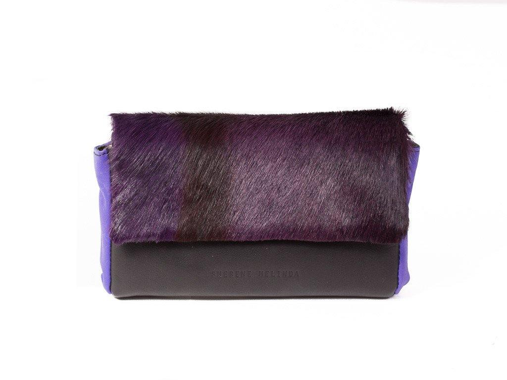 Purple and Black Two Tone Sophy Leather Clutch Bag without a Fan