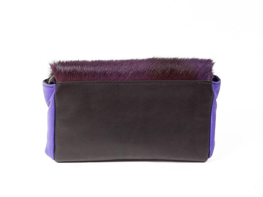 Purple and Black Two Tone Sophy Leather Clutch Bag without a Fan - SHERENE MELINDA