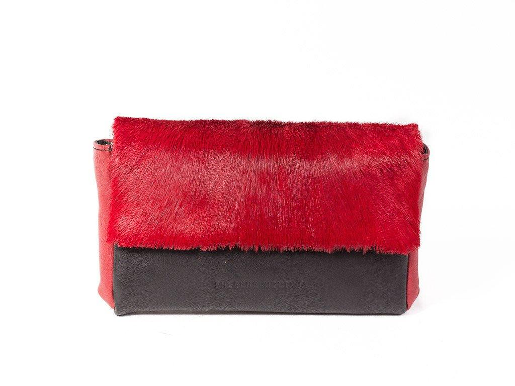 black and red leather clutch bag front with no fan