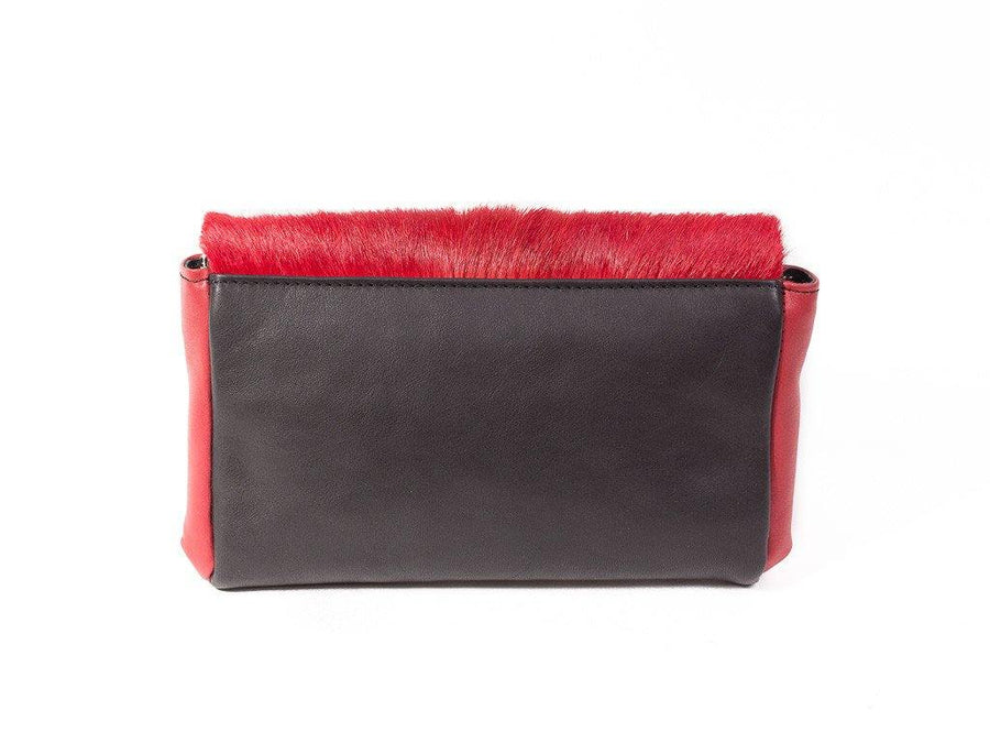 Red and Black Two Tone Sophy Leather Clutch Bag without a Fan - SHERENE MELINDA