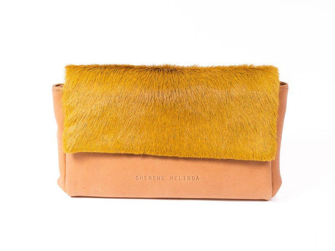 Yellow Sophy Leather Clutch Bag without a Fan