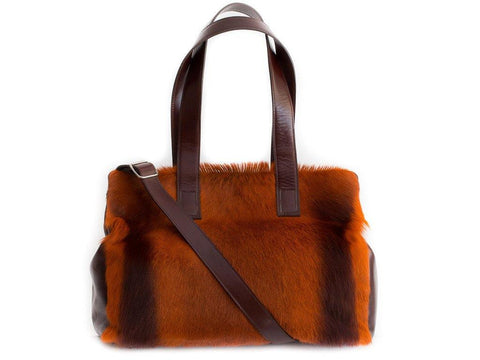 Burnt orange and red brown leather tote bag