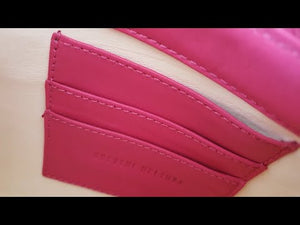 Clutch Springbok Handbag in Fuchsia with a stripe feature by Sherene Melinda