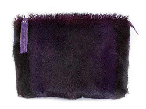 Purple multiway leather clutch and shoulder bag - Haupt Bag