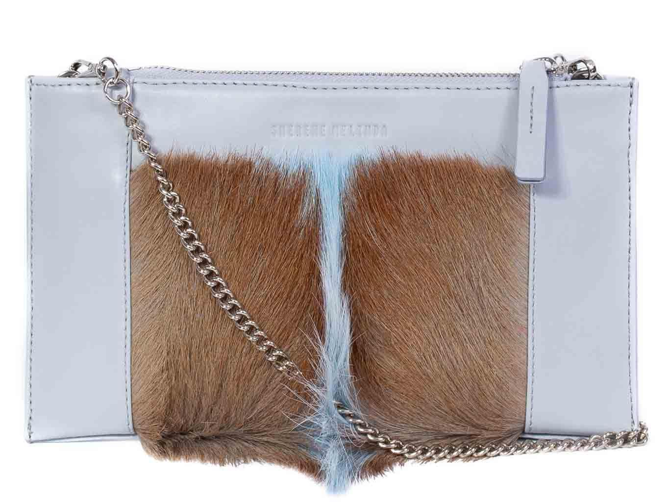 Clutch Springbok Handbag in Baby Blue with a fan feature by Sherene Melinda front strap