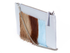 Clutch Springbok Handbag in Baby Blue with a stripe feature by Sherene Melinda angle strap