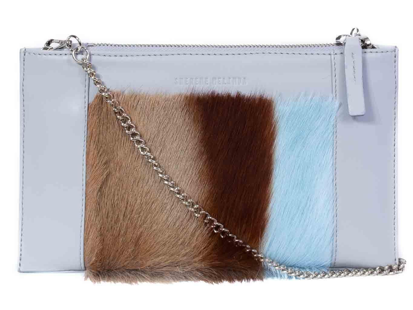 Clutch Springbok Handbag in Baby Blue with a stripe feature by Sherene Melinda front strap