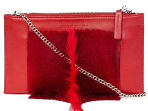 Clutch Springbok Handbag in Crimson Red with a fan feature by Sherene Melinda front strap