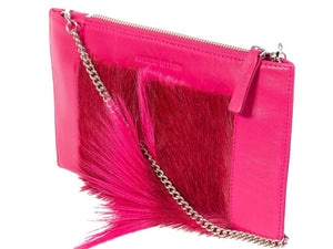 Clutch Springbok Handbag in Fuchsia with a fan feature by Sherene Melinda front angle strap