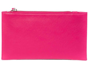 Clutch Springbok Handbag in Fuchsia with a fan feature by Sherene Melinda back