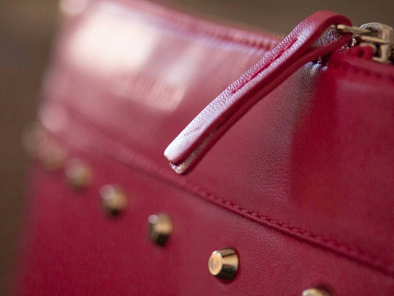 Clutch Studded Handbag in Fuchsia by Sherene Melinda