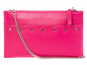Clutch Studded Handbag in Fuchsia by Sherene Melinda front strap