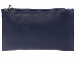 Clutch Springbok Handbag in Navy Blue with a fan feature by Sherene Melinda back