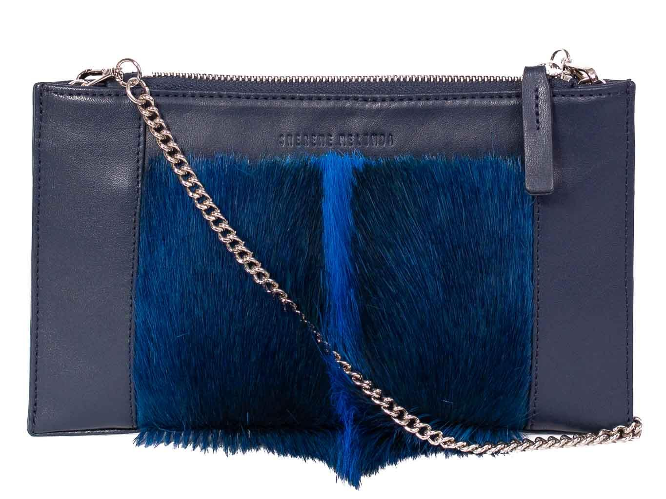 Clutch Springbok Handbag in Navy Blue with a fan feature by Sherene Melinda front strap