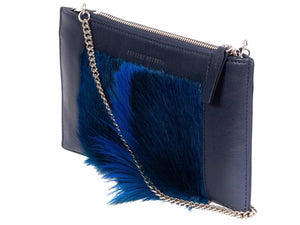 Clutch Springbok Handbag in Navy Blue with a fan feature by Sherene Melinda side angle strap