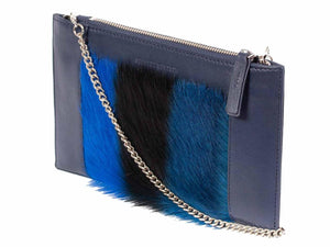 Clutch Springbok Handbag in Navy Blue with a stripe feature by Sherene Melinda side angle strap