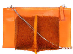 Clutch Springbok Handbag in Orange with a fan feature by Sherene Melinda