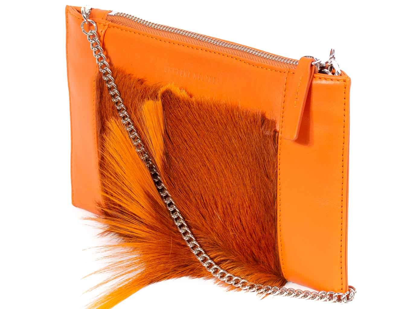 Clutch Springbok Handbag in Orange with a fan feature by Sherene Melinda front strap
