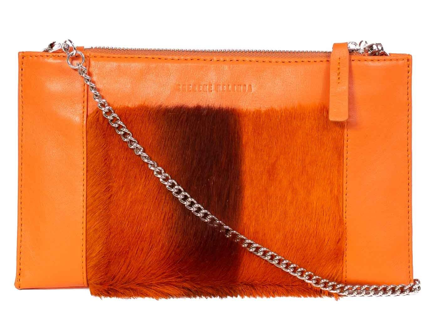 Clutch Springbok Handbag in Orange with a stripe feature by Sherene Melinda front strap