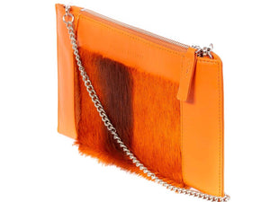 Clutch Springbok Handbag in Orange with a stripe feature by Sherene Melinda side angle strap