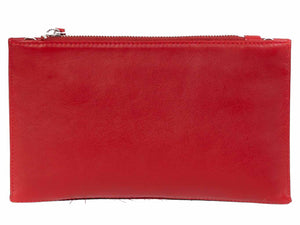 Clutch Springbok Handbag in Crimson Red with a fan feature by Sherene Melinda back