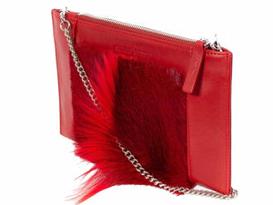 Clutch Springbok Handbag in Crimson Red with a fan feature by Sherene Melinda side angle strap