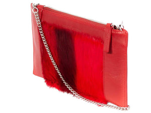 Clutch Springbok Handbag in Crimson Red with a stripe feature by Sherene Melinda side angle strap