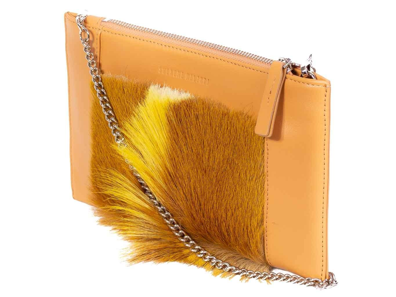 Clutch Springbok Handbag in Sunflower Yellow with a fan feature by Sherene Melinda front strap