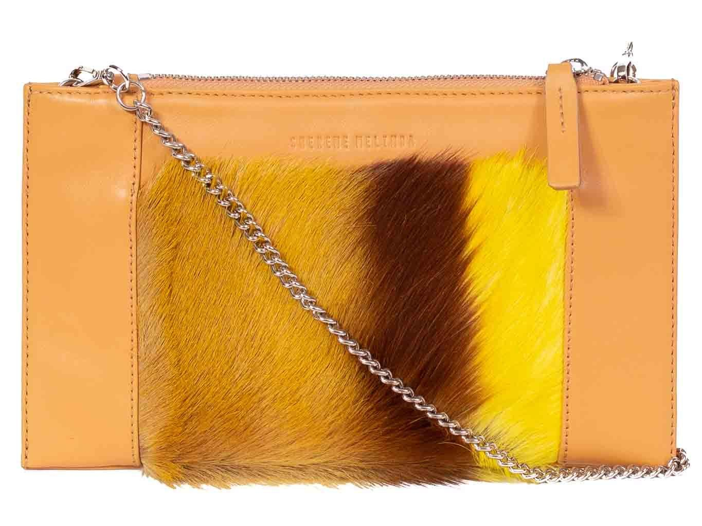 Clutch Springbok Handbag in Sunflower Yellow with a stripe feature by Sherene Melinda front strap