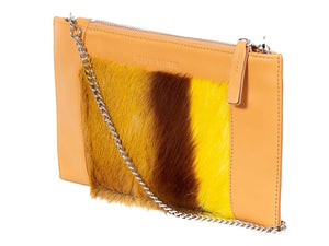 Clutch Springbok Handbag in Sunflower Yellow with a stripe feature by Sherene Melinda side angle strap