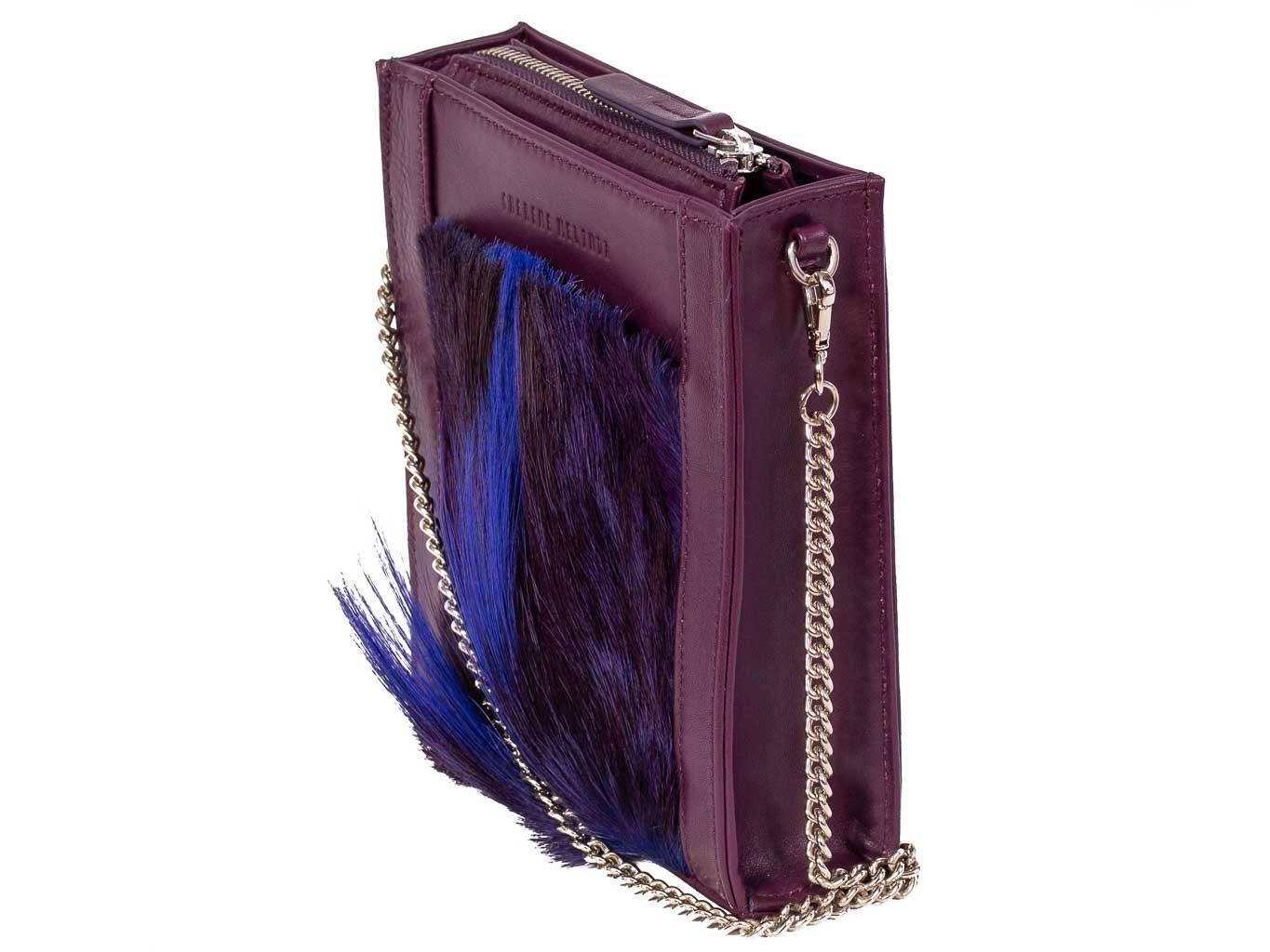 Messenger Springbok Handbag in Deep Purple with a fan feature by Sherene Melinda front strap