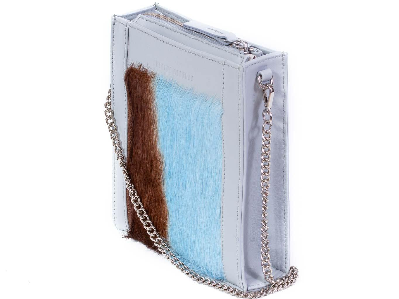 Messenger Springbok Handbag in Baby Blue with a stripe feature by Sherene Melinda front strap