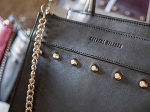 Top Handle Studded Handbag in Black by Sherene Melinda - SHERENE MELINDA