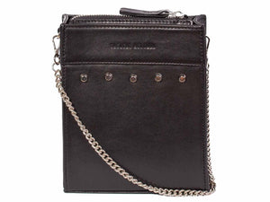 Messenger Studded Handbag in Black by Sherene Melinda front strap