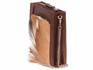 Messenger Springbok Handbag in Cocoa Brown with a fan feature by Sherene Melinda side angle strap