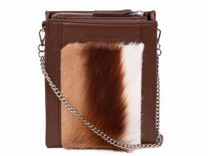 Messenger Springbok Handbag in Cocoa Brown with a stripe feature by Sherene Melinda front strap