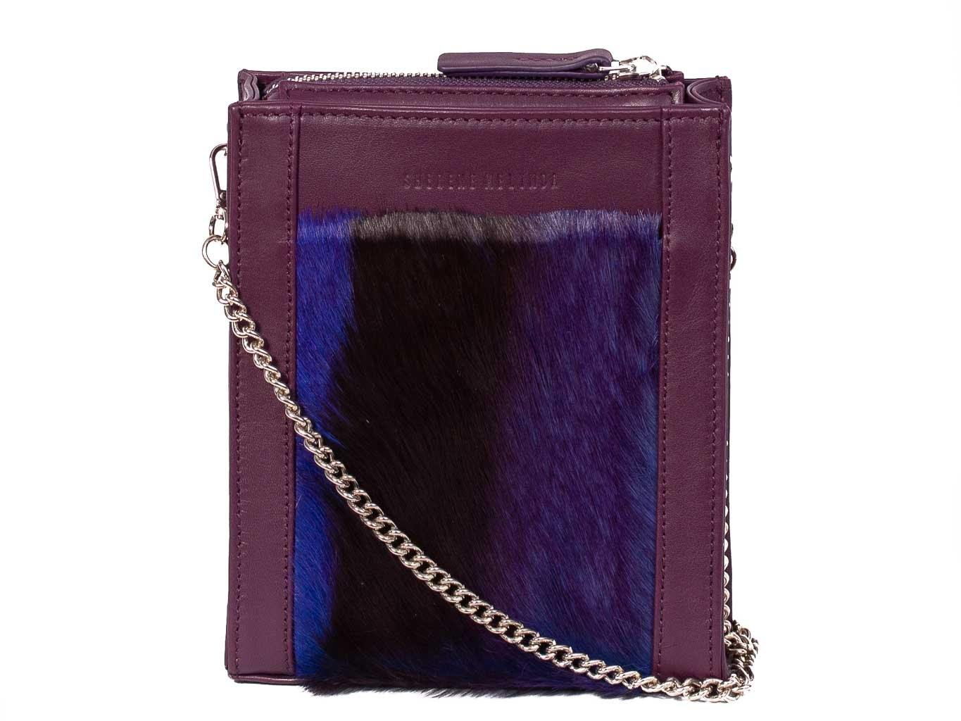 Messenger Springbok Handbag in Deep Purple with a stripe feature by Sherene Melinda front strap