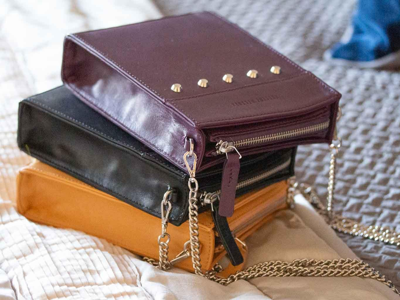 Messenger Studded Handbag in Deep Purple by Sherene Melinda