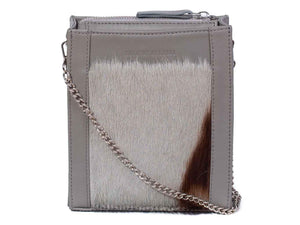 Messenger Springbok Handbag in Slate Grey with a stripe feature by Sherene Melinda front strap