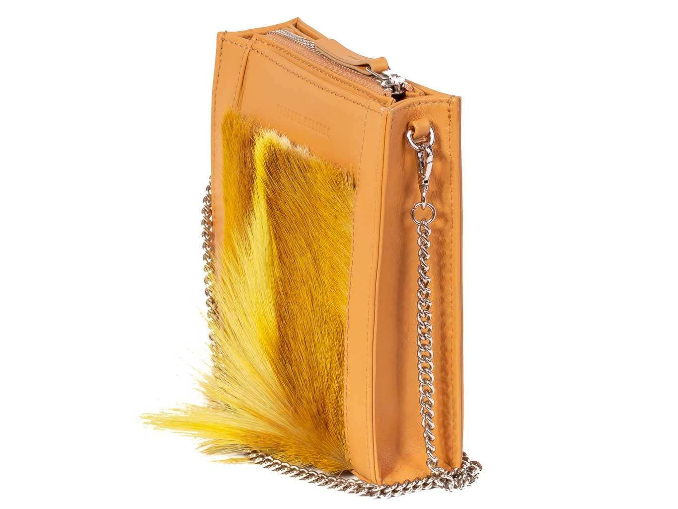 Messenger Springbok Handbag in Sunflower Yellow with a stripe feature by Sherene Melinda front strap
