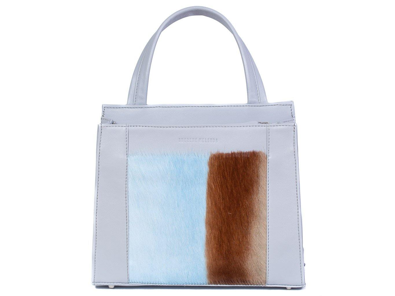 Top Handle Springbok Handbag in Baby Blue with a stripe feature by Sherene Melinda front