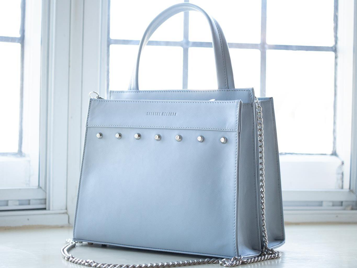 Top Handle Studded Handbag in Baby Blue by Sherene Melinda